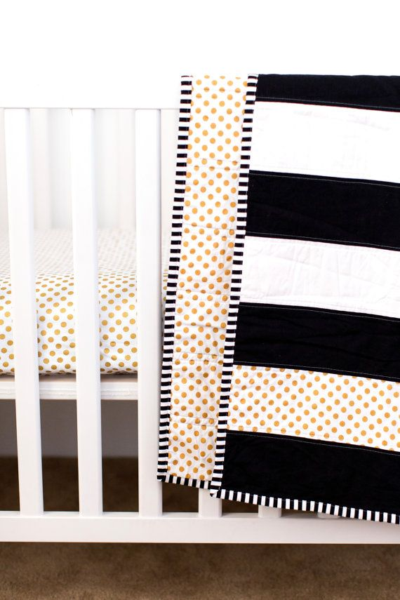 Modern Striped Crib Quilt Black and White Quilt Crib by KBCute