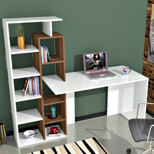 Scrivania-libreria Poly in fibra di legno bianco e noce 60x150x148