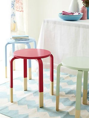 Frosta stool, dipped paint look