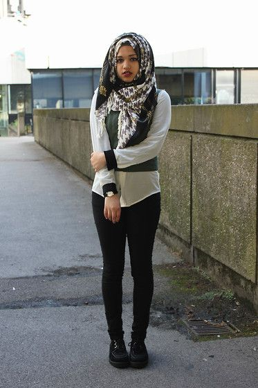 Binty K Collections Pure Luxury Hijab, Forever 21 Gillet, New Look Black And White Chiffon Shirt, Forever 21 Black Skinny Jeans, Creepers