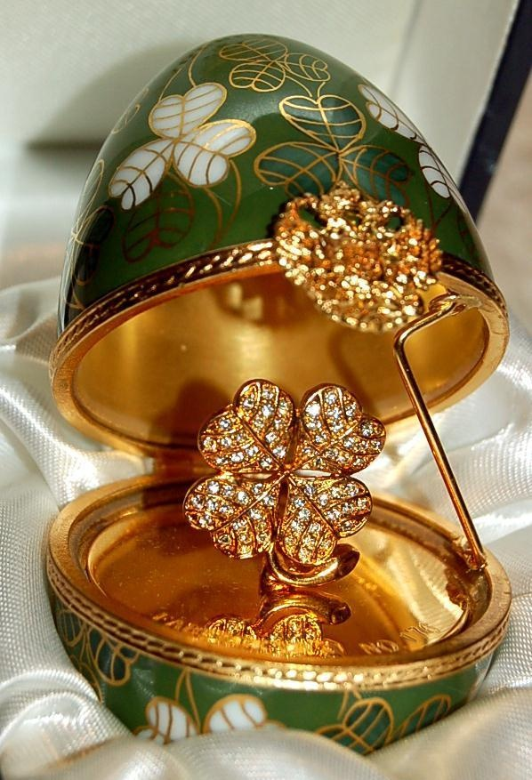 FABERGE LIMITED EDITION FABERGE SURPRISE CLOVER EGG-CRYSTALS