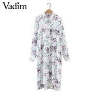 Женская мода цветочные shirt dress длинным рукавом женский сексуальный хем сплит повседневная стильный уличная midi платья vestidos QZ2892
