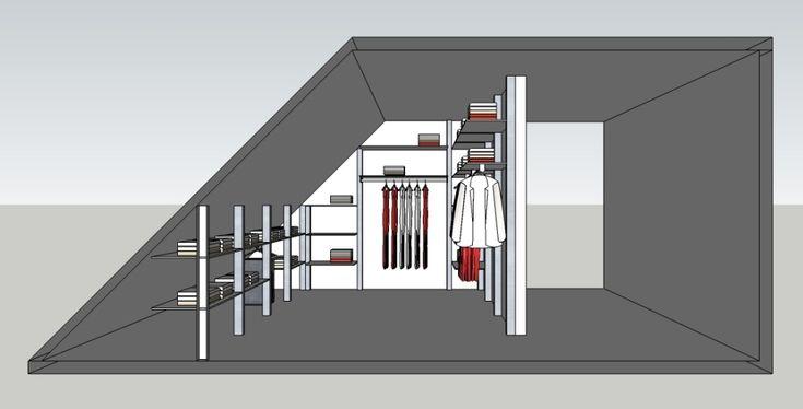 Alle inloopkasten van DRESSAWAY worden op maat ontworpen. Dit ontwerp is voor een inloopkast onder een schuin dak.