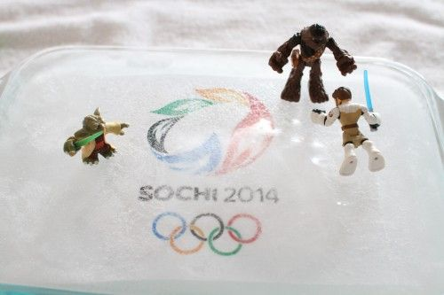 Olympic Ice Skating for Toys - another idea to bring some winter olympic fun to warmer climates!