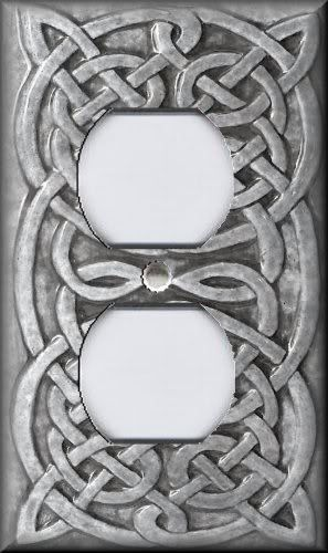 Light Switch Plate Cover - Home Decor - Celtic Knot - Light Grey
