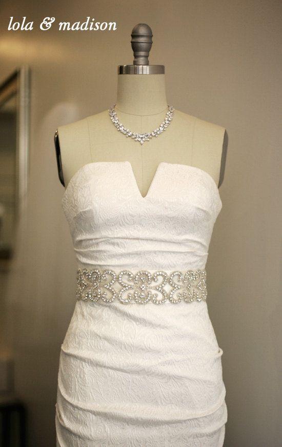 Jasmine - Bridal Gown Sash, wedding dress sash, bridal belt, wedding accessory, crystal sash on Etsy, $178.00