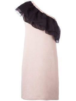 асимметричное платье с рюшами