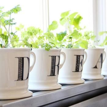 Windowsill Herb Garden with letter mugs. LOVE it! Transitional, kitchen, Apartment Therapy
