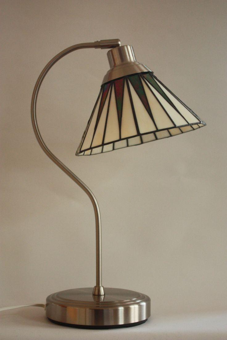 Art deco lamp zwart tiffany lamp tafellamp vintage verlichting door waenzinnigglas