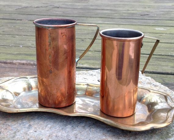 FREE SHIPPING..Vintage-Set of 2-Copper and Brass Measuring Cups, 3/4 and 1 Cup-Mid Century-Farmhouse-French Cottage-Gourmet Chef