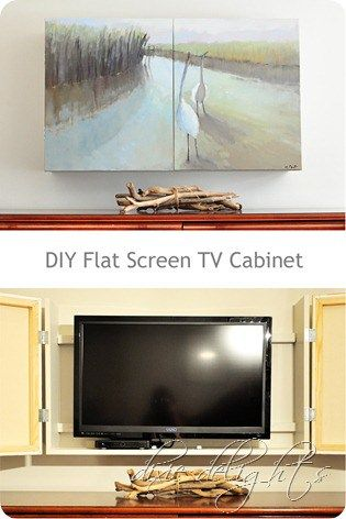 DIY Flat Screen TV Cabinet - might be nice to add a shelf section at the bottom for more equipment / space at the top above the TV to mount the wi-fi | Dixie Delights
