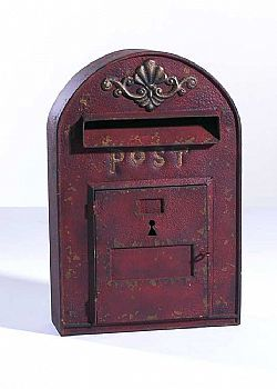 DCSE - Letter box, metal,Door can be opened, antique look. Red. Vintage Decoration. / Γραμματοκιβώτιο παλαιωμένο κόκκινο