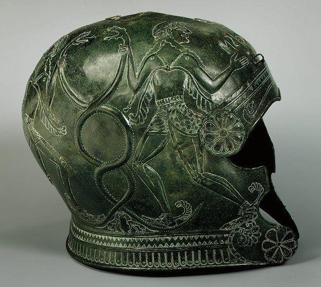 7th century Cretan bronze helmet.