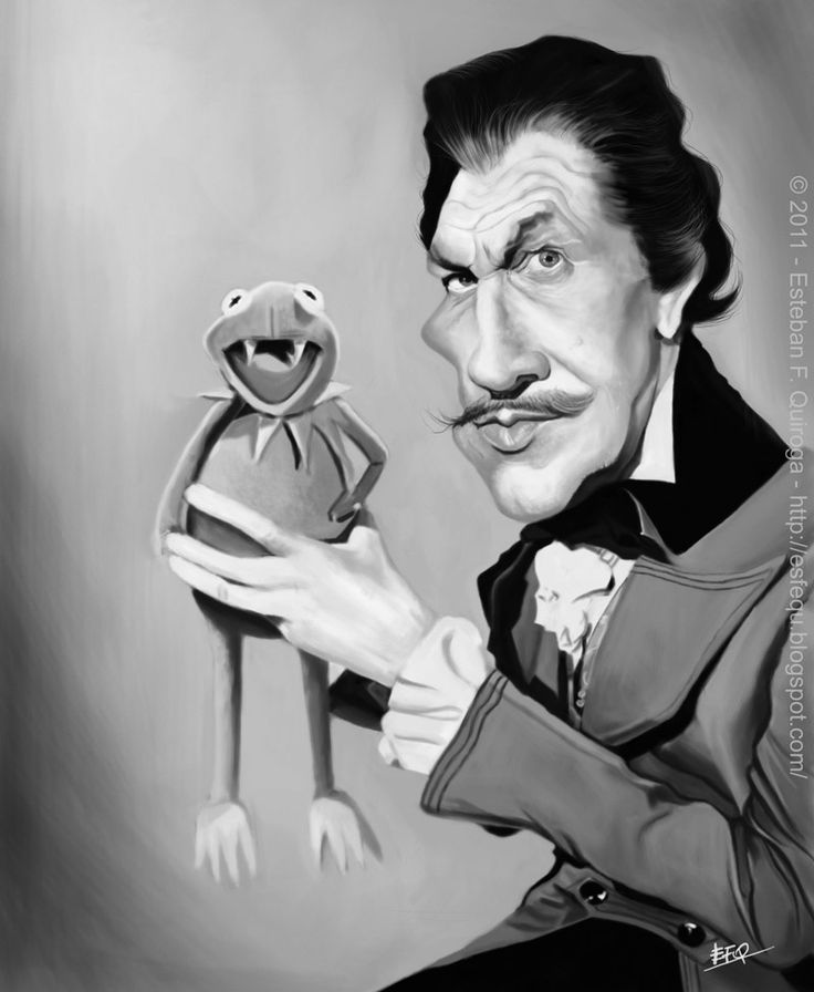 Caricatura de Vincent Price y La Rana Gustavo.