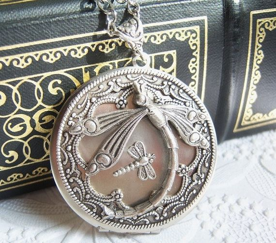 Silver dragonfly locket, momma and baby dragonfly locket, statement necklace- FREE-SHIPPING -USA- BG563 Grandma gift