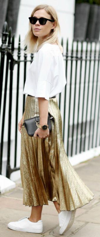 metallic pleated skirt + Jessie Bush + glitter-perfect style + skirt + sneakers + white blouse + keep all the attention where it belongs.   Skirt: Farfetch, Tee: Max Mara.