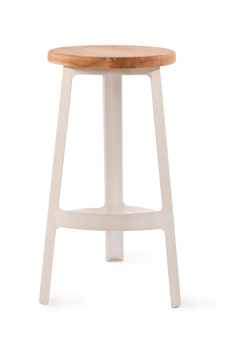 Abode Stool With Wood Seat White (also Black/red/steel/etc