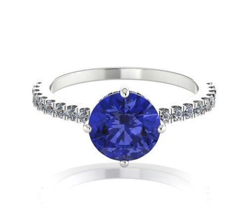 Diamond Bridal Ring, Wedding Rings, Solitaire Ring With Natural Round Shape Center Tanzanite and Diamonds, Anniversary Ring, Wedding Ring by BridalRings on Etsy https://www.etsy.com/listing/244252179/diamond-bridal-ring-wedding-rings