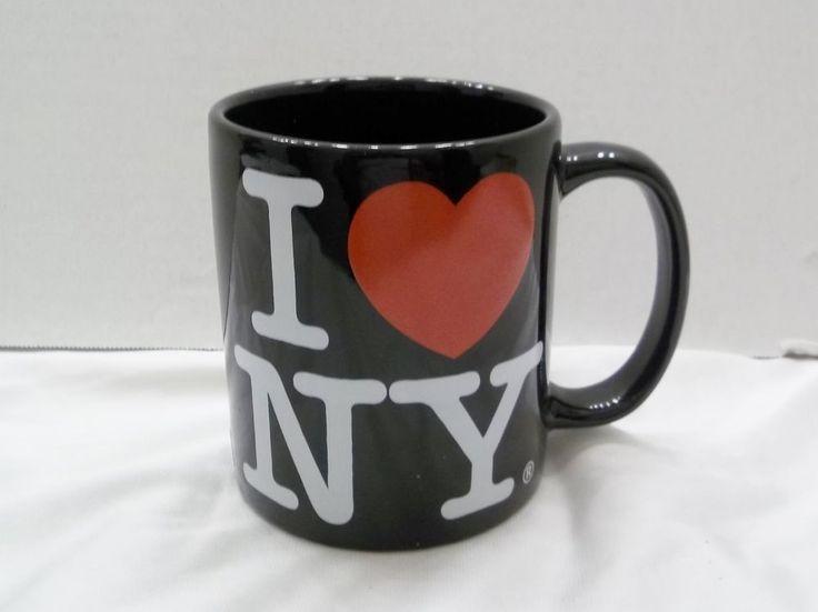 I Love NY Black Coffee Mug Official New York Merchandise Cup