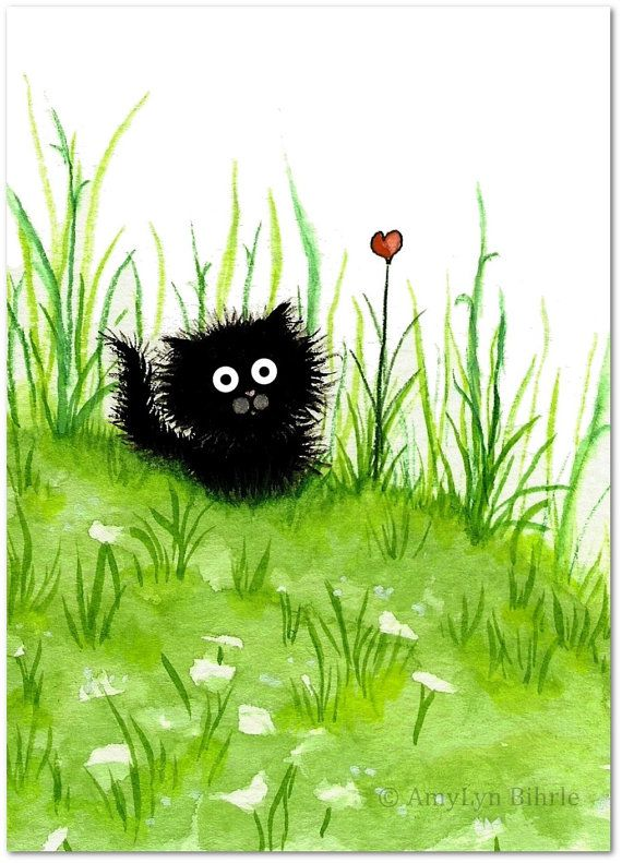 Fuzzy Black Kitty Cat Flower Heart ArT – Art Prints by Bihrle ck249