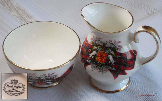 Vintage Royal Grafton by A.B.Jones COAT OF ARMS Bone China Creamer and Sugar Bowl