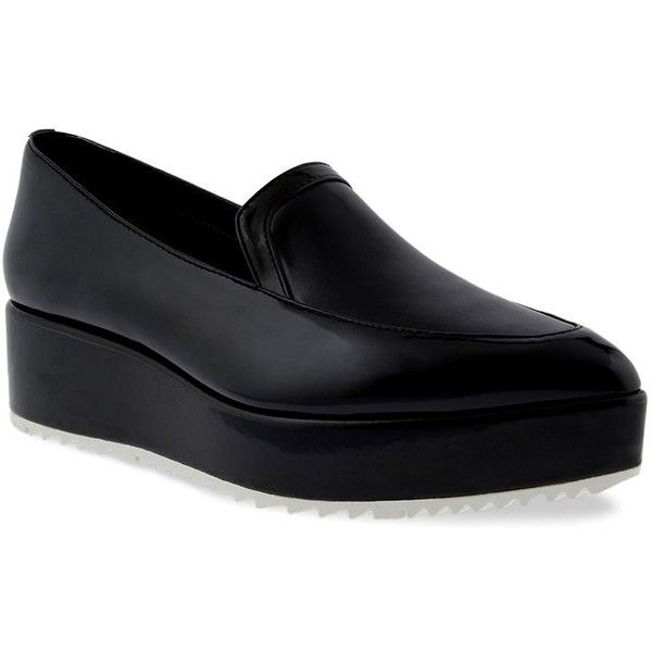 CHARLES & KEITH Platform Loafers (275 ZAR) ❤ liked on Polyvore featuring shoes, loafers, black, loafer shoes, black pointed toe shoes, pointy toe shoes, black shoes and low platform shoes