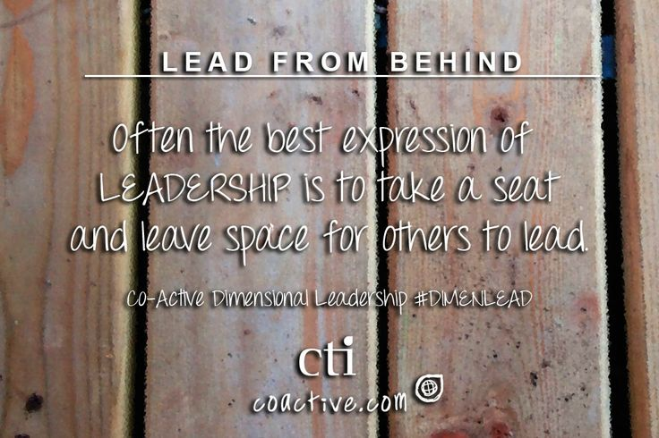 Often the best expression of #leadership is to take a seat and leave space for others to lead. Co-Active Dimensional Leadership #DimenLead