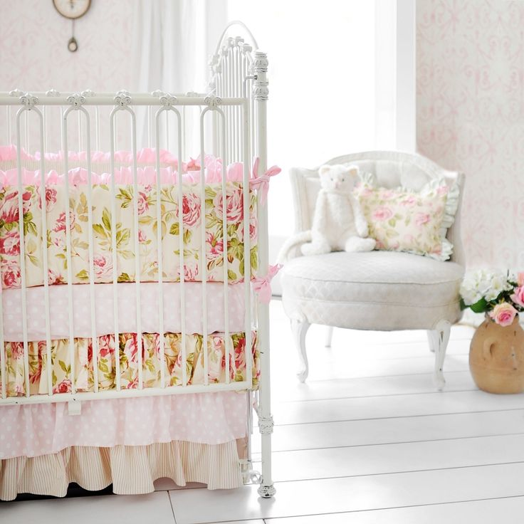 Pink Rose Baby Bedding Rose Crib Bedding Vintage Rose