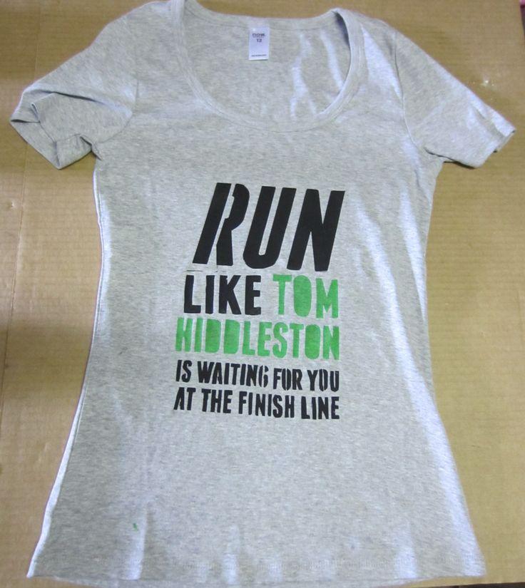 Tom Hiddleston Running Shirt by CurlySuePrints on Etsy https://www.etsy.com/listing/189668351/tom-hiddleston-running-shirt