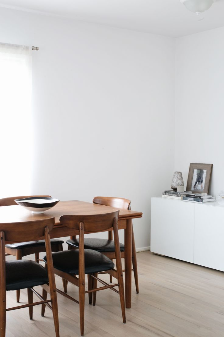 minimalist neutral dining room with walls painted Farrow & Ball Wevet