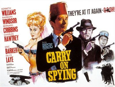 Carry On Spying 1964 British comedy film. Stars Kenneth Williams, Barbara Windsor, Bernard Cribbins, Charles Hawtrey, Eric Barker, Dilys Laye, Jim Dale, Richard Wattis, Eric Pohlmann and others.