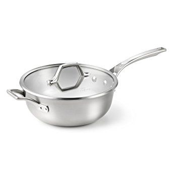 Calphalon AccuCore Stainless Steel Chef's Pan with Cover, 4-Quart