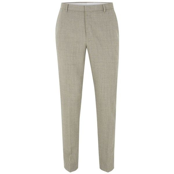 TOPMAN Stone Merino Wool Blend Skinny Suit Trousers (3.965 RUB) ❤ liked on Polyvore featuring men's fashion, men's clothing, men's pants, men's dress pants, brown, mens zip off pants, mens skinny dress pants, mens skinny fit dress pants, mens skinny suit pants and brown mens pants
