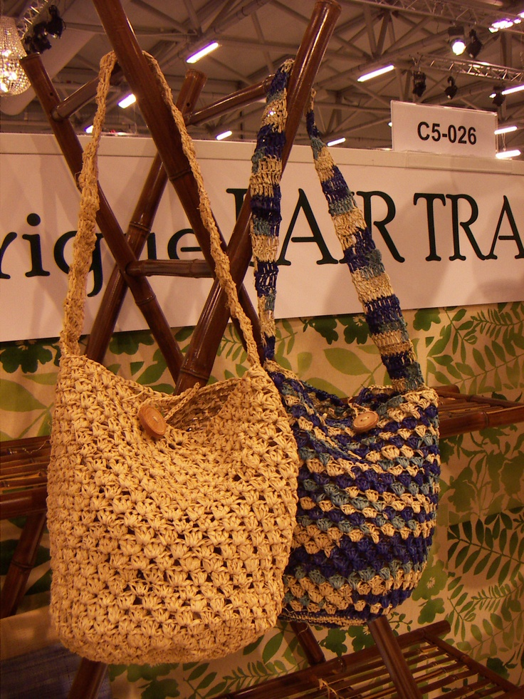 Shoulder bags of crochet raffia palmleaves. CIFF 2013