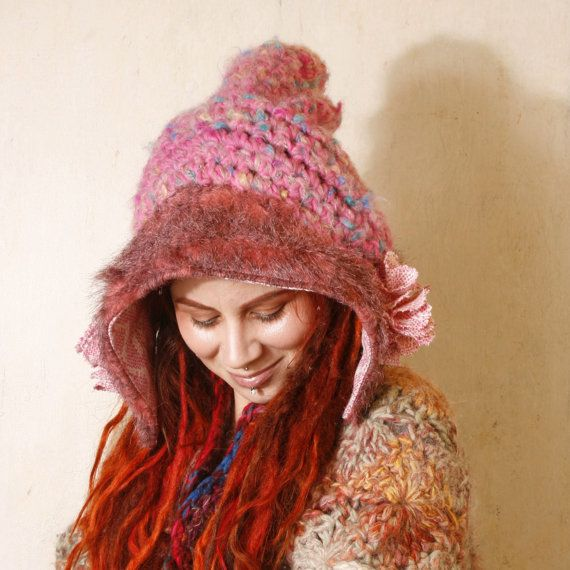 Hey, I found this really awesome Etsy listing at https://www.etsy.com/listing/212856489/knit-hat-pink-woman-pink-hat-fairy-hat