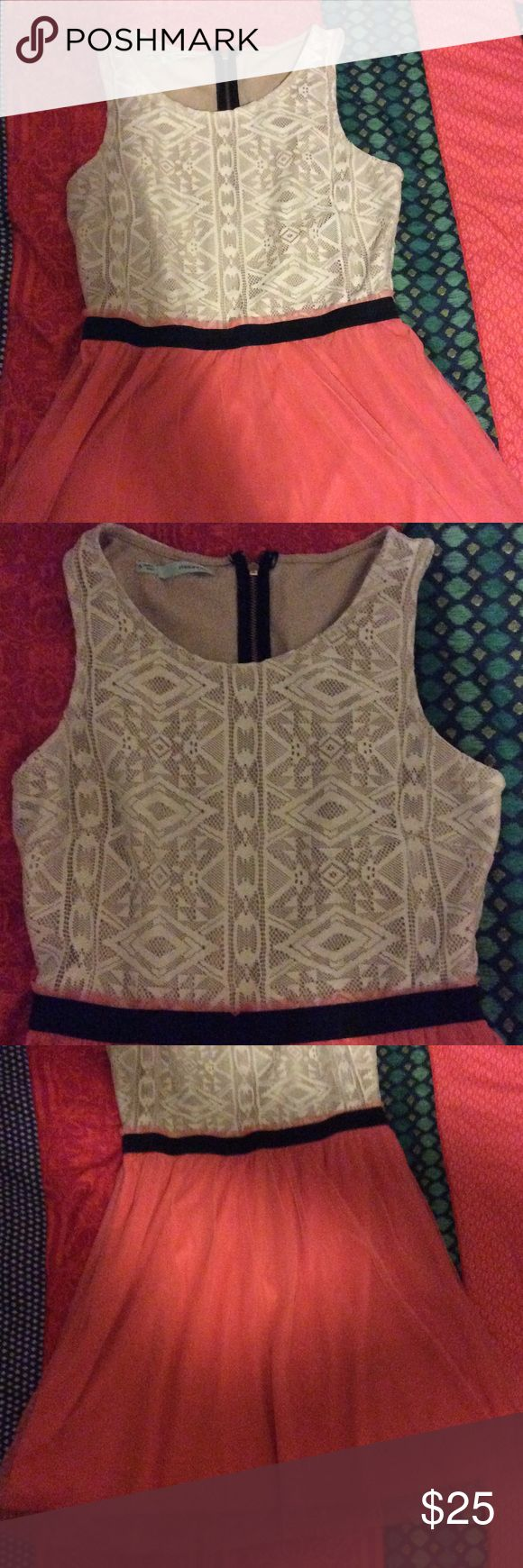 Aztec top peachy bottom dress A fun dress I purchased awhile ago! Does run shorter on me and I am 5'7 (hits above the knees) very stretchy waist band and soft material! Maurices Dresses Mini