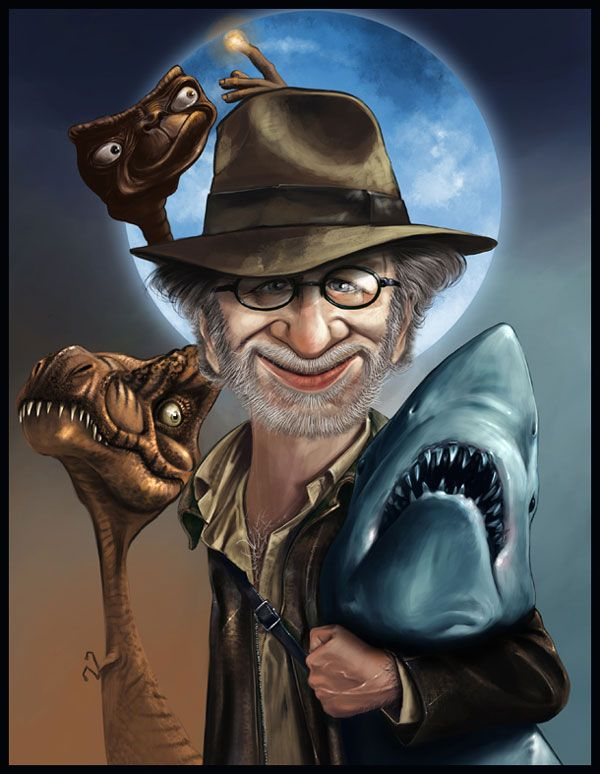 Steven Spielberg is featured in this caricature with some of his most popular friends