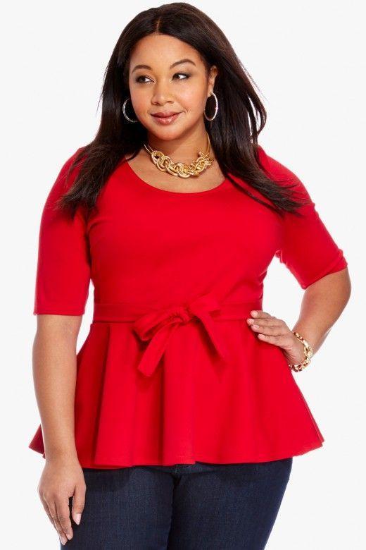 Plus Size Darla Bow Peplum Top | Fashion To Figure