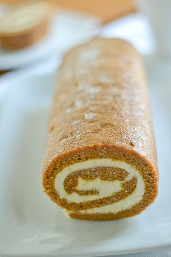 Pumpkin Roll, my favorite thing to make for the holidays. With dairy free tofu/ginger cream cheese frosting!