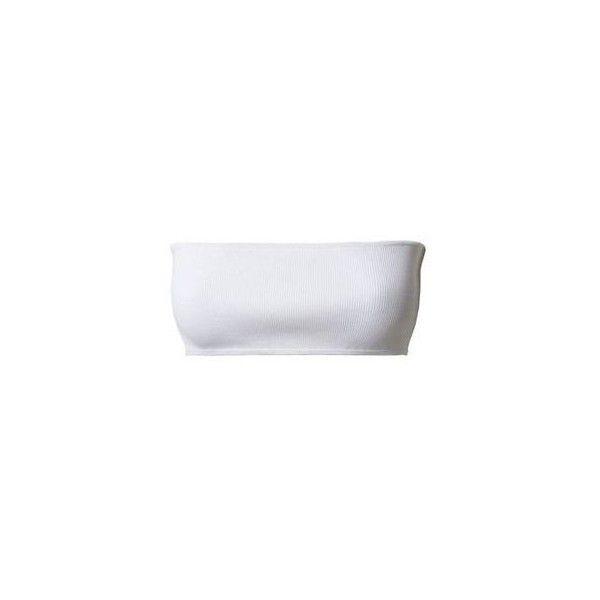 Balmain ❤ liked on Polyvore featuring tops, balmain, white bandeau bikini top, bandeau tops, white ribbed top and balmain top