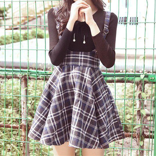 Plaid Strap Woolen Suspender Skirt/Top SP178808