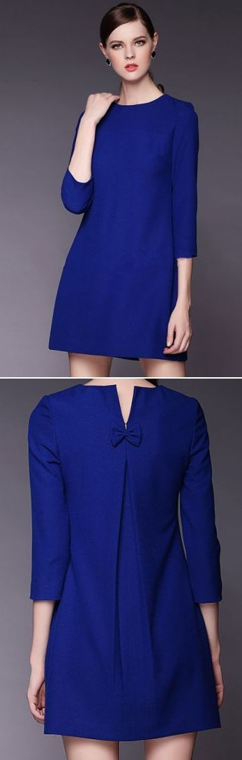MODA #vestido #linhaA #manga #prega #laço #azul