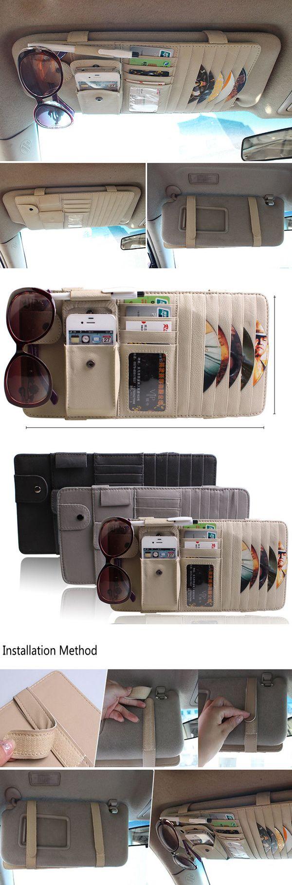 [$ 9.67]  Car Storage Bag Pu Leather CD Holder Sunscreen Shade Carriage Bag