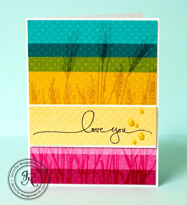 clear embossing over a rainbow of dotted cardstock
