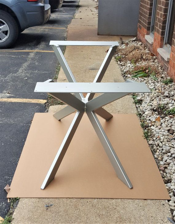 Modern Table X Base, Prefabricated, Model Satin Nickel Finish   Made From  Steel Tubing   3 X 1   Mounting Top Plate   X 5 Plate With Holes