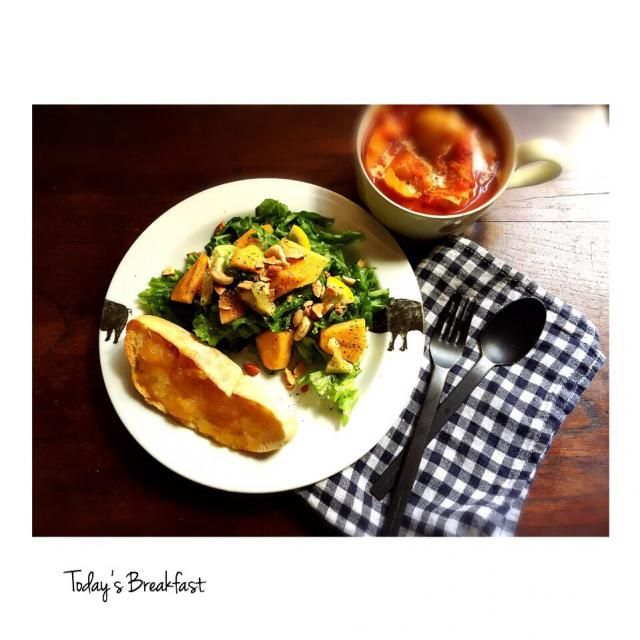 新ジャガのトマトシチュー、柿のサラダ、自家製マーマレードのせバゲット。  美味しかった〜♬  1日の始まり 大切ですね - 51件のもぐもぐ - 新ジャガのトマトシチューと柿のサラダ 本日の朝ご飯 by welcomeizumi