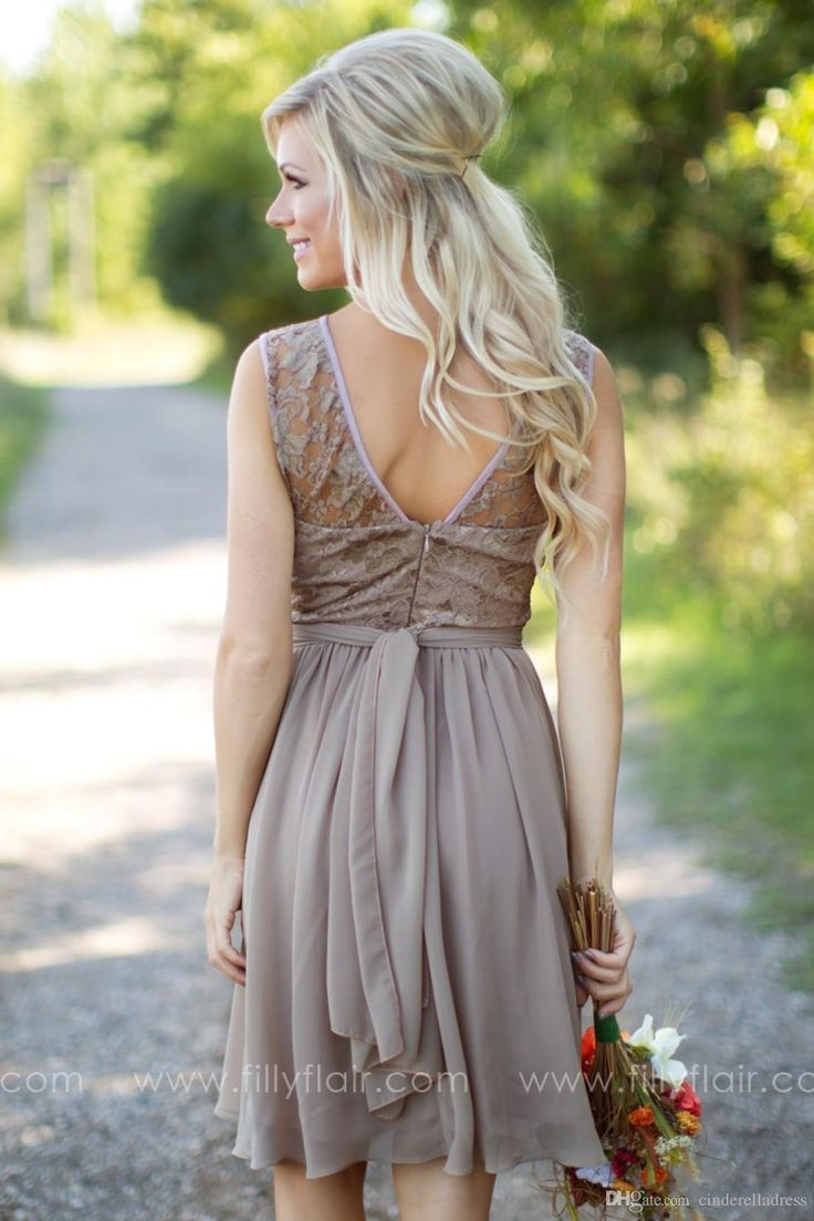Modern Country Chic Wedding Dress : Bridesmaid dresses on champagne colored
