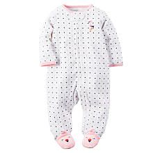 Carters Girls Polka Dot Zip Up Microfleece Footie with Embroidered Flamingo Applique and Foot Detail