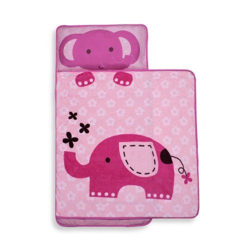 "Pink Elephant Nap Mat for Girls by KidsLine. $22.47. Machine washable.. 100% polyester.. Measures approximately 21"" W x 46"" L.. This all in one blanket and pillow nap mat is an adorable and comfortable solution for your toddler. Great for daycare, preschool or kindergarten nap-time, this nap mat features an elephant sprouting flowers on a pink flower print background. It has an attached printed boa blanket, a built-in plush pillow and it conveniently rolls up for easy carry..."