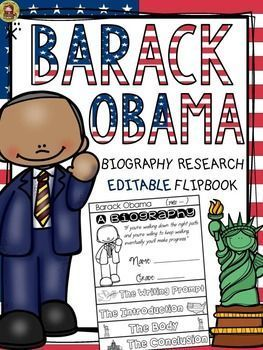Make research on Barack Obama interesting and fun with this EDITABLE flipbook organizer. https://www.teacherspayteachers.com/Product/PRESIDENTS-DAY-BIOGRAPHY-BARACK-OBAMA-2385684